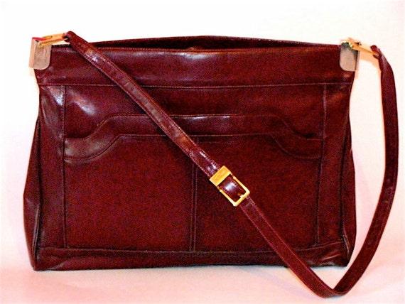 30buckSALE - Vintage Purse - Maroon Burgundy Brown Shoulder Strap Bag - Fits iPad - Unique Gold Hardware and Mirror Attached