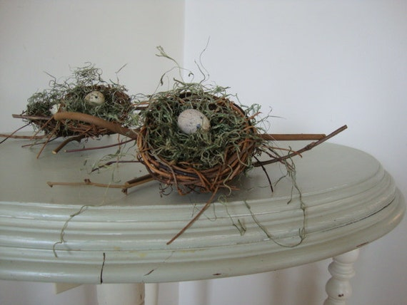 Nest home decor tree ornament natural twig nest quail egg for Twig decorations home