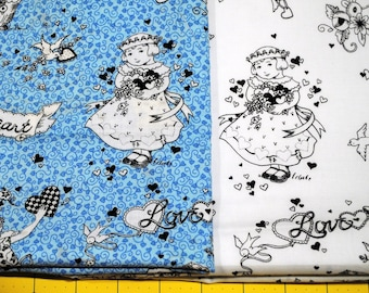 Mary Englebreit Fat Quarter Pair Flower Girl with Doves and Hearts