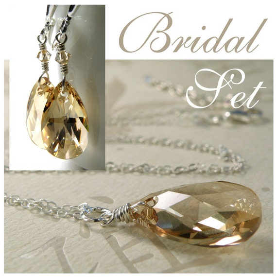 Bridesmaid jewelry set champagne crystal necklace and by for Jewelry for champagne wedding dress