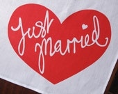Just Married Linen Tea Towel Wedding Gift