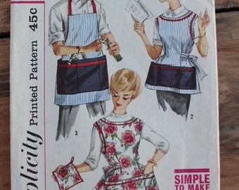 Simplicity Pattern 3206 Aprons in 3 Styles Size Small 1950s 60's