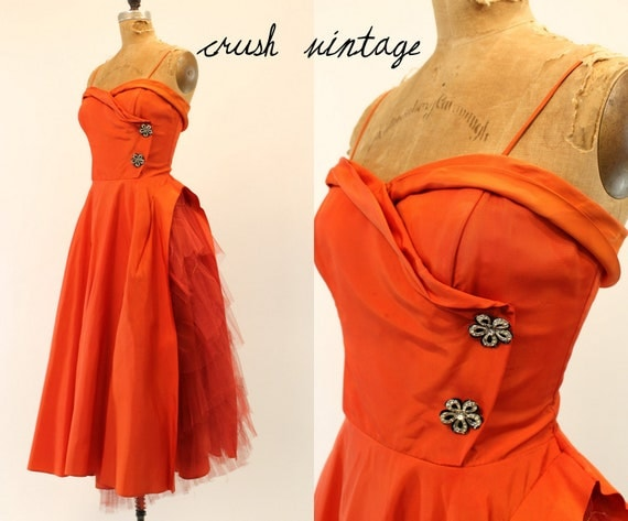 1950s Dress Small  /   Persimmon Perfection Tulle Cocktail Dress