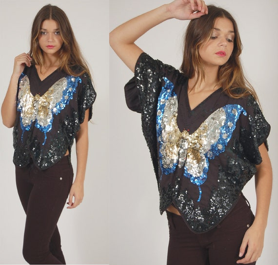 Vintage Sequin BUTTERFLY Top Vintage 70s 80s Glam Disco Tunic