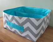 "NEW Fabric Storage Basket - Fabric organizer storage bin basket tote - 12"" x 12"" - Perfect for your home - Grey  ZigZag"