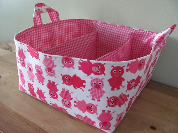 NEW Fabric Diaper Caddy - Fabric organizer storage bin basket - Urban Zoologie 3 Pigs in Pink