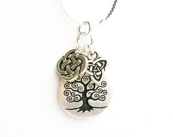 Celtic Tree of Life Necklace - with Celtic Round Knot Charm and Celtic Trinity Knot Charm - on Sterling Silver Chain