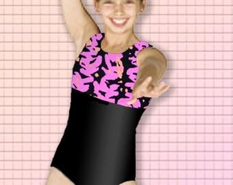 Girls Gymnastics Leotard Child size 4 6 8 10 12 hot pink orange black abstract delsign New Kids tank leo