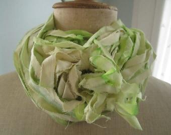 Go Green Hand Dyed Muslin Ribbon Yarn