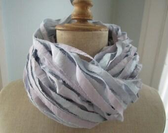 Lavender Blue Hand Dyed Muslin Ribbon Yarn