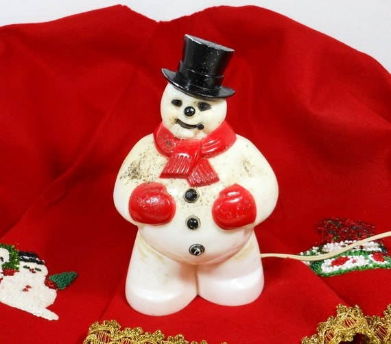 Vintage Snowman Light Lamp FROSTY Holiday Christmas Decoration Red USA PeachyChicBoutique on Etsy