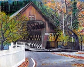 "Vermont ""Slippery when wet!"". This is a signed print that is  11 x. 14."