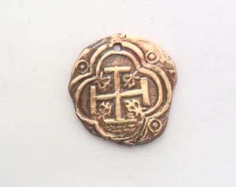 Bronze Roman Cross Coin Finding, Lost Wax Cast