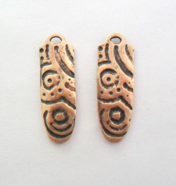 Cast Bronze Artisan Tribal Inspired Charm or Earrings Findings Pair