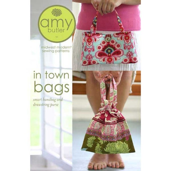CLEARANCE Amy Butler In Town Bags (Handbag and Drawstring Purse) Sewing Pattern