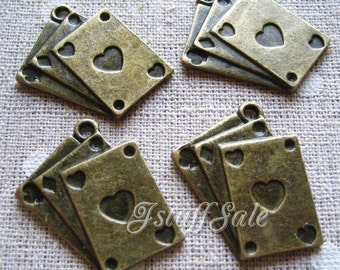 5 pcs Alice in Wonderland theme playing cards pendant charms Antique bronze