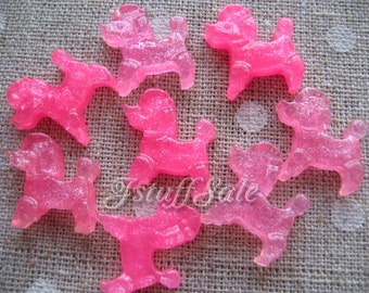 Pink poodles flat back resin cabochons 8 pcs set (A110)