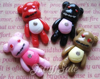 Evil teddy bear flat back cabochons 4 pcs mix