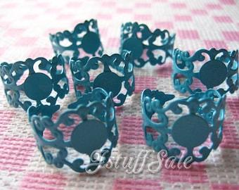8 pcs - Glue On Pad Adjustable Rings (Turquoise blue)
