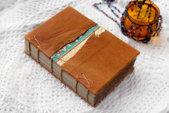 Sweet Saturdays - Rustic Burnt Orange Leather Journal with Tea-Stained Pages & Floral Fabric