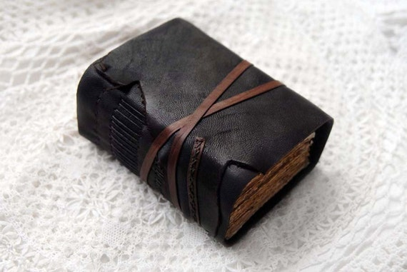 Quiet Moments - Thick Rustic Dark Brown Leather Journal with 320 Tea-Stained Recycled Pages