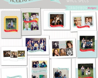 Holiday Love Cards/ Christmas Card Collection - Templates for Photographers - WHCC Specs - Psd Files for Christmas Cards