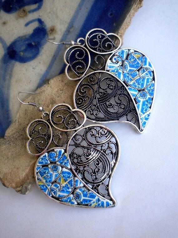 Portugal  Antique Tile Replica Earrings,  DEEP ROYAL BLUES  Heart of Minho