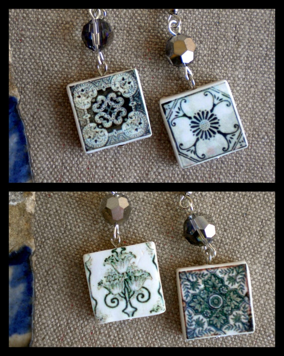 Portugal  4 in 1 Antique Tile Replicas, green gray -- SWIVEL 4 SIDES (see photo of actual Facades) Waterproof - Aveiro, Ovar and Coimbra