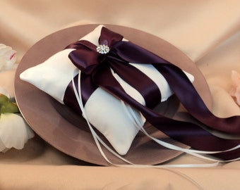 Romantic Satin Elite Ring Bearer Pillow...You Choose the Colors...Buy One Get One Half Off...shown in white/plum aubergine
