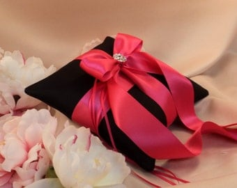 Romantic Satin Elite Ring Bearer Pillow...You Choose the Colors...Buy One Get One Half Off...shown in black/hot pink fuschia