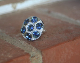 R24 Upcycled Hexagon Blue Rhinestone Adjustable Cocktail Ring