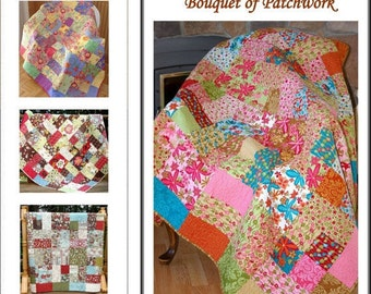 FALL SALE - Custom Quilt Kit - Pick any Layer Cake and Charm Pack - Bouquet of Patchwork Quilt Pattern by Carlene Westberg Designs