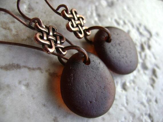 Sale - Spiced Rum & Copper Celtic Autumn Genuine Sea Glass Earrings