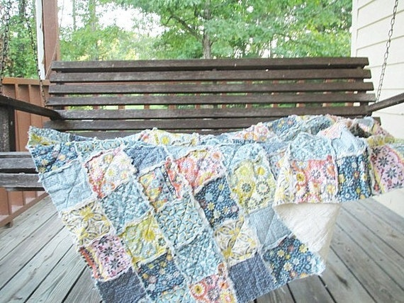 Rag Quilt Throw, Large, Silent Cinema Mix,  ALL NATURAL, fresh modern handmade