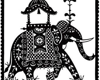 Indian Elephant - PRINT 16cm x 16cm