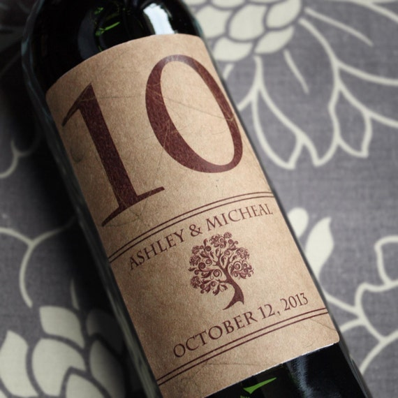 Wine Label Table Number  1-10.......Choose your Colors... Subtle Fall