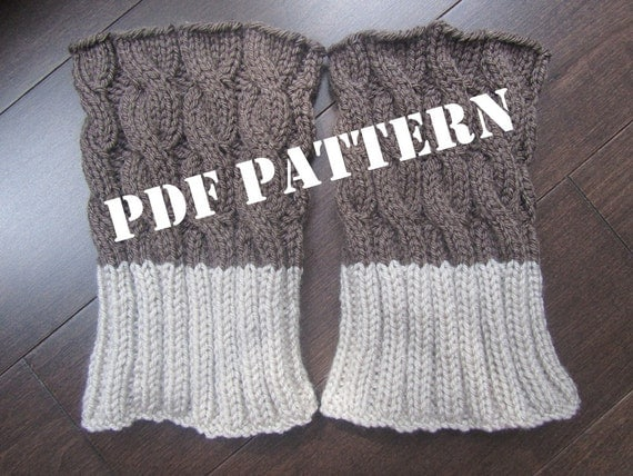 Big Needle Knitting Patterns Free : PATTERN 2 in 1 Boot Toppers Knitted DIY by Frenchstyle1 on Etsy