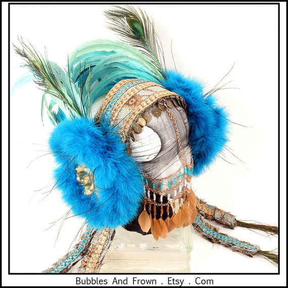 Dusty Blue and Gold.... Feather Headband with Blue Roses and Feathers