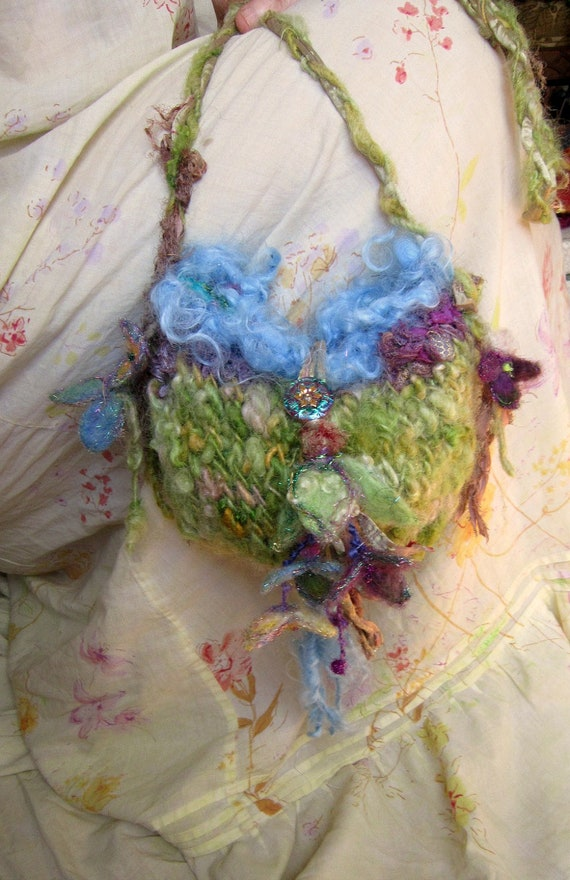 handknit rustic fairytale bag - enchanted meadow