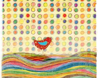 Good Morning- bird illustration print or note card