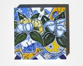 Blue and Yellow Still Life Painting,  Original Acrylic  Painting on Canvas