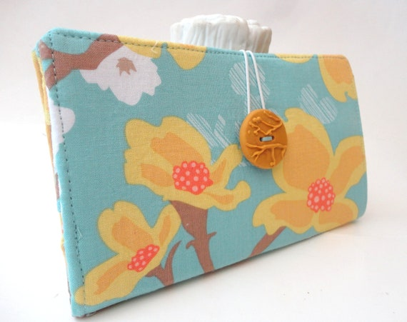 Handmade Tampon and Pad Clutch Teal Mustard Yellow Fabric Privacy Wallet  - Dogwood Blooms