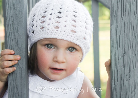 White Girls Hat, Newborn Hat, Crochet Beanie, Toddler Tam, Little Girls Hat, MADE TO ORDER, Sophia Fashion Beanie