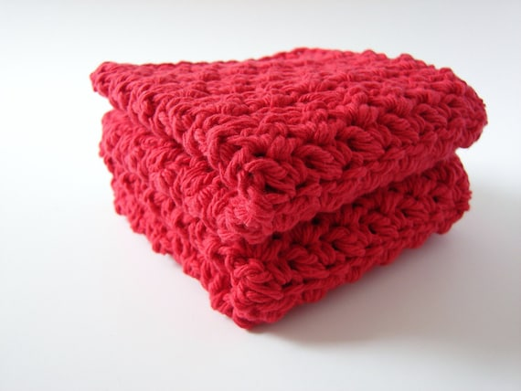 Cotton Crochet Washcloth Hand Knit Organic Dishcloths Kitchen Dish Rags Bathroom Home Eco Friendly Red Set of 2 MADE TO ORDER