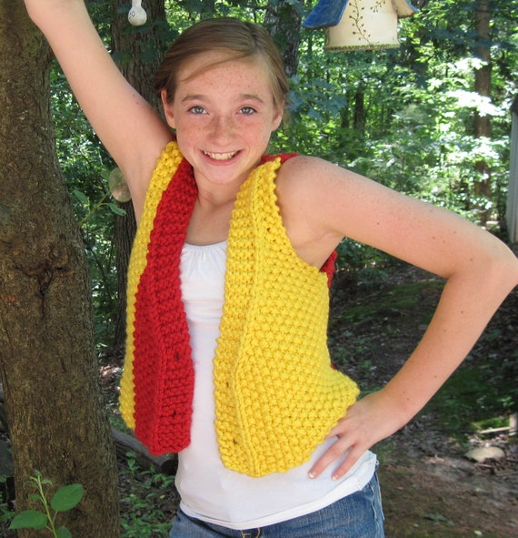 The Adjustable Child's Vest Bulky Yarn  Knitting Pattern for  5 to 12 Years Old