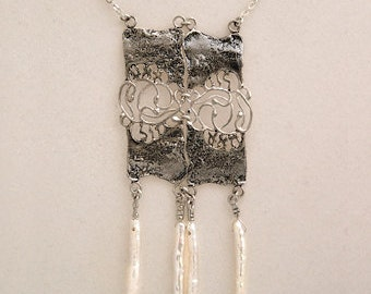 Silver Kabbalah Necklace,Unique Necklaces,Designer women jewelry, pendant necklace with white pearls.