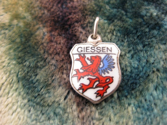Charm - Travel Shield - Giessen - Silver Charm  - Germany - Red Winged Lion - Enamel - Coat of Arms - Travelers - Good Luck