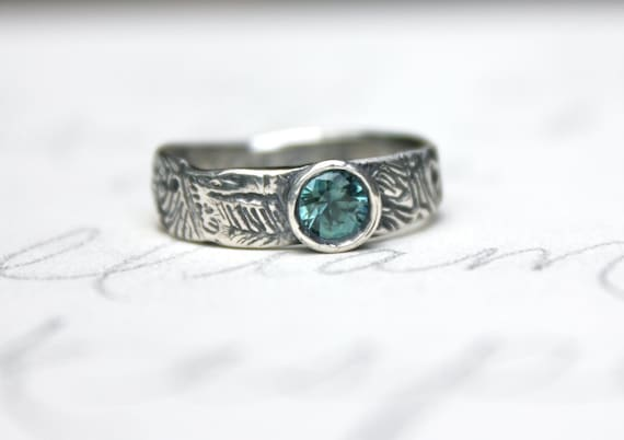 teal blue green Montana sapphire engagement ring bohemian
