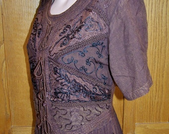 Boho dress embroidered brown India maxi size S