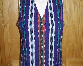 Boho Vest,   Cotton weave vest, ikat style vest,  Gypsy vest,  violet vest, size M